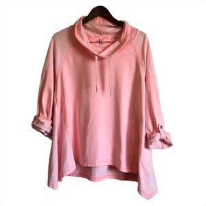 CALVIN KLEIN Cowl Neck Pullover Sweater Top Pink